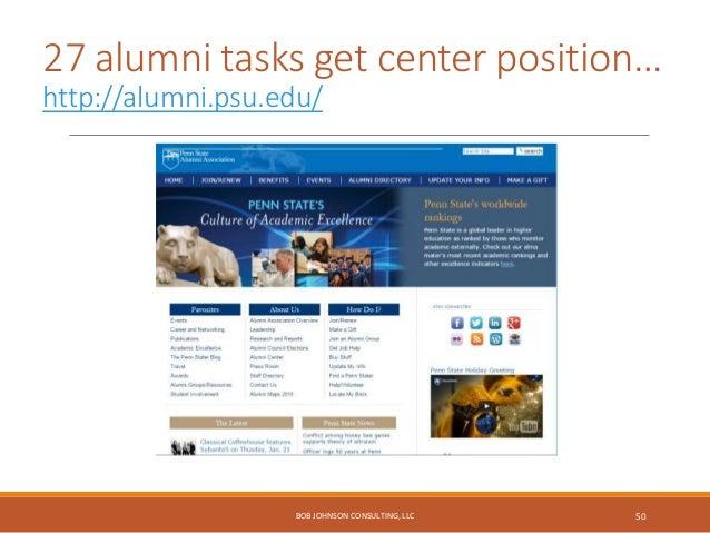 Alumni networking task… http://apps.carleton.edu/alumni/ BOB JOHNSON CONSULTING, LLC 51