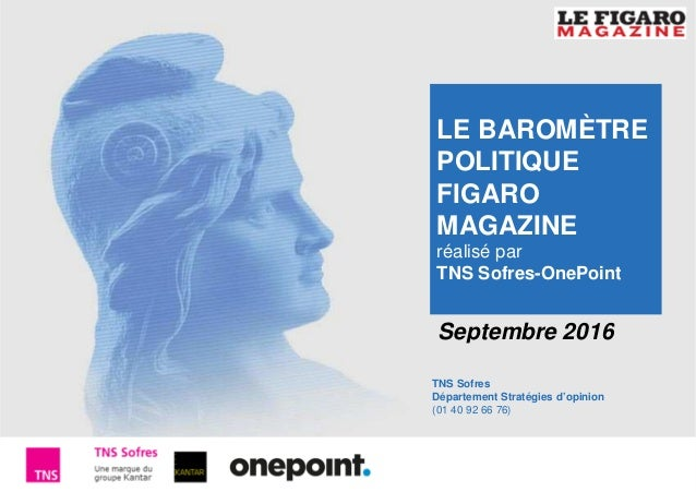 1 Baromètre Figaro Magazine –Septembre 2016 TNS Sofres Département Stratégies d'opinion (01 40 92 66 76) Septembre 2016 LE...