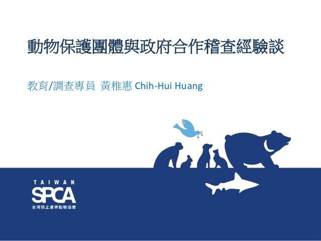 動物保護團體與政府合作稽查經驗談 教育/調查專員 黃稚惠 Chih-Hui Huang