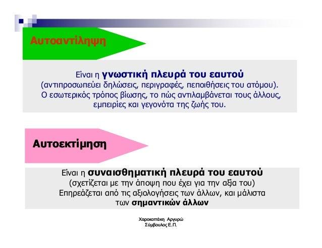 ΑυτοαντίληψηΑυτοαντίληψη Είναι η γνωστική πλευρά του εαυτού (αντιπροσωπεύει δηλώσεις, περιγραφές, πεποιθήσεις του ατόµου)....