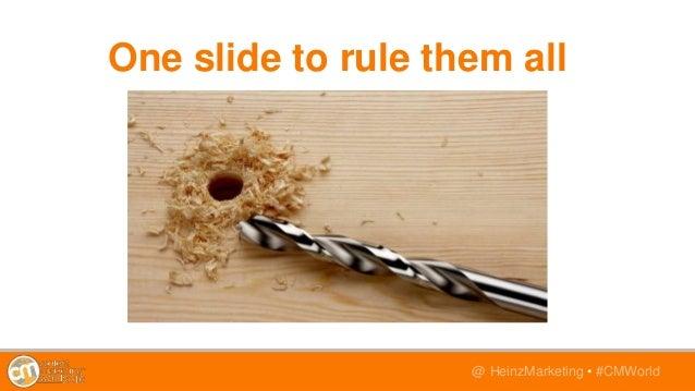 @TwitterHandle • #CMWorld@ HeinzMarketing • #CMWorld One slide to rule them all