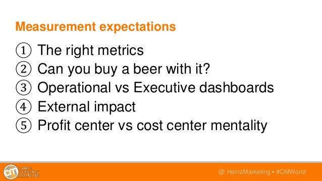 @TwitterHandle • #CMWorld@ HeinzMarketing • #CMWorld Measurement expectations ① The right metrics ② Can you buy a beer wit...