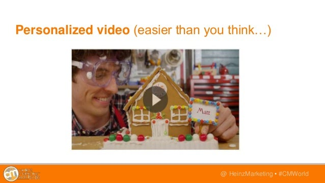 @TwitterHandle • #CMWorld@ HeinzMarketing • #CMWorld Personalized video (easier than you think…)