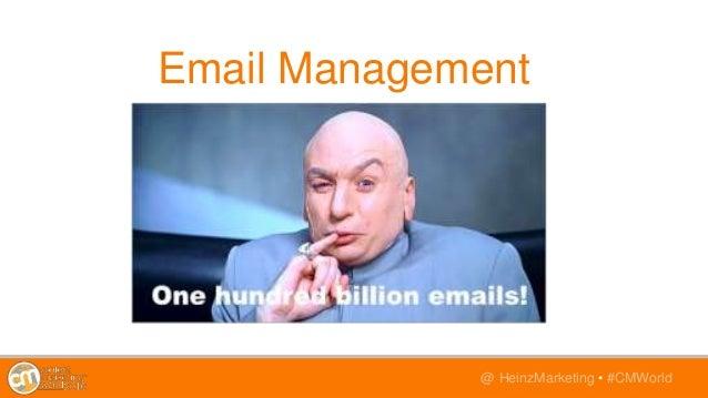 @TwitterHandle • #CMWorld@ HeinzMarketing • #CMWorld Email Management