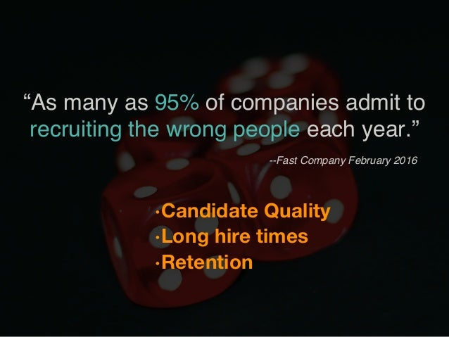 """•Candidate Quality •Long hire times •Retention """"As many as 95% of companies admit to recruiting the wrong people each y..."""