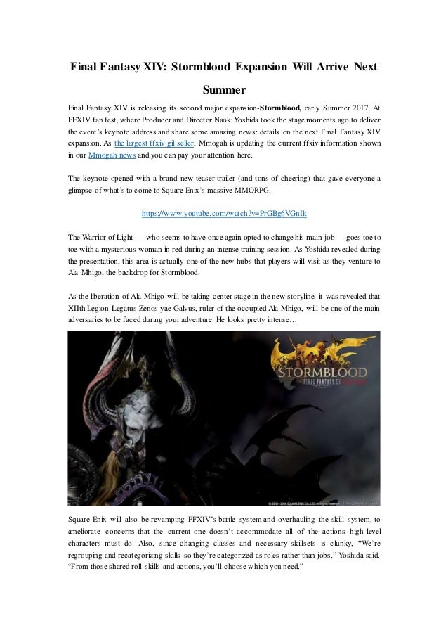 Final Fantasy XIV: Stormblood Expansion Will Arrive Next Summer