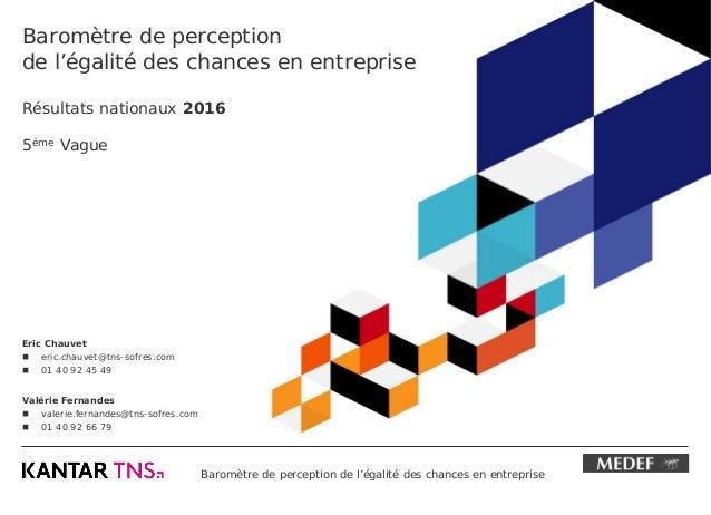 Baromètre de perception de l'égalité des chances en entreprise Baromètre de perception de l'égalité des chances en entrepr...
