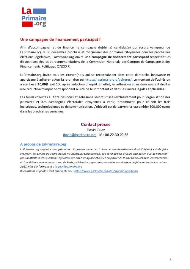 2016.12.01 CP LaPrimaire.org créé 1er parti politique indépendant et éphémère Slide 2