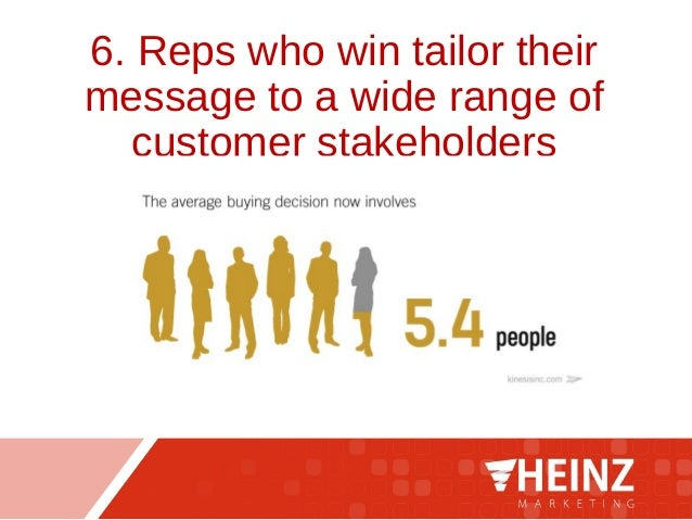 6. Reps who win tailor their message to a wide range of customer stakeholders