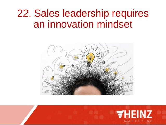 22. Sales leadership requires an innovation mindset