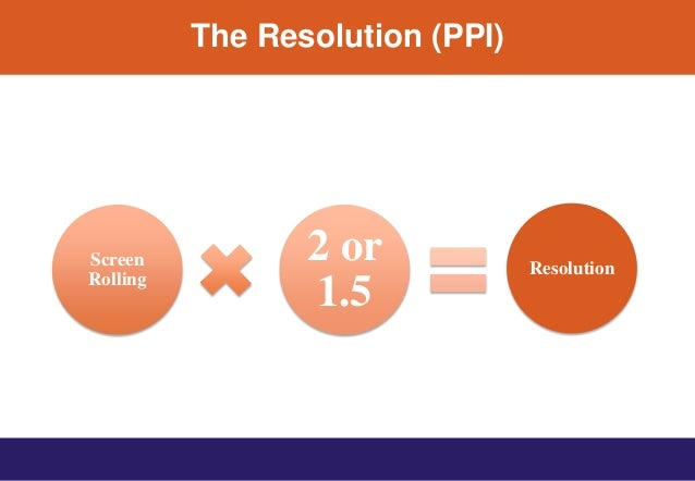 The Resolution (PPI) Screen Rolling 2 or 1.5 Resolution