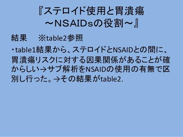 『ステロイド使用と胃潰瘍 ~NSAIDsの役割~』 結果 ※table2参照 ・table1結果から、ステロイドとNSAIDとの間に、 胃潰瘍リスクに対する因果関係があることが確 からしい→サブ解析をNSAIDの使用の有無で区 別し行った。→そ...