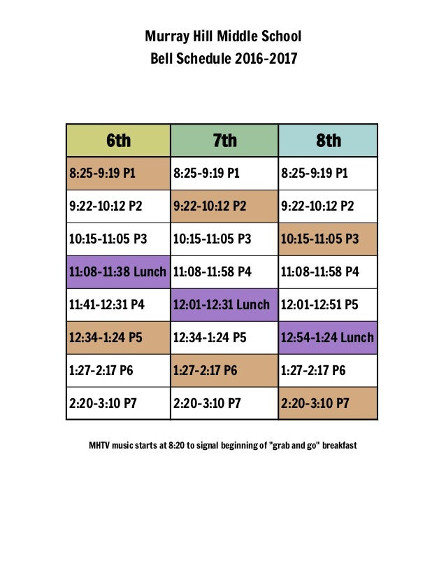 Murray Hill Middle School Bell Schedule 2016-2017 6th 7th 8th 8:25-9:19 P1 8:25-9:19 P1 8:25-9:19 P1 9:22-10:12 P2 9:22-10...