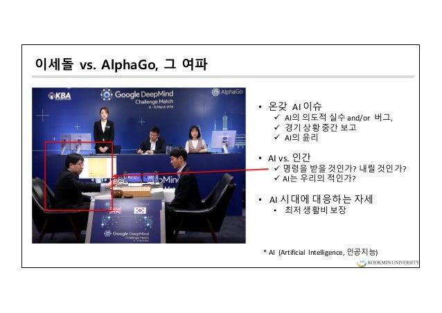 이세돌 vs. AlphaGo, 그 여파 • 온갖 AI 이슈 ü AI의 의도적 실수 and/or 버그, ü 경기 상황 중간 보고 ü AI의 윤리 • AI vs.인간 ü 명령을 받을 것인가? 내릴 것인가? ü AI는 우...