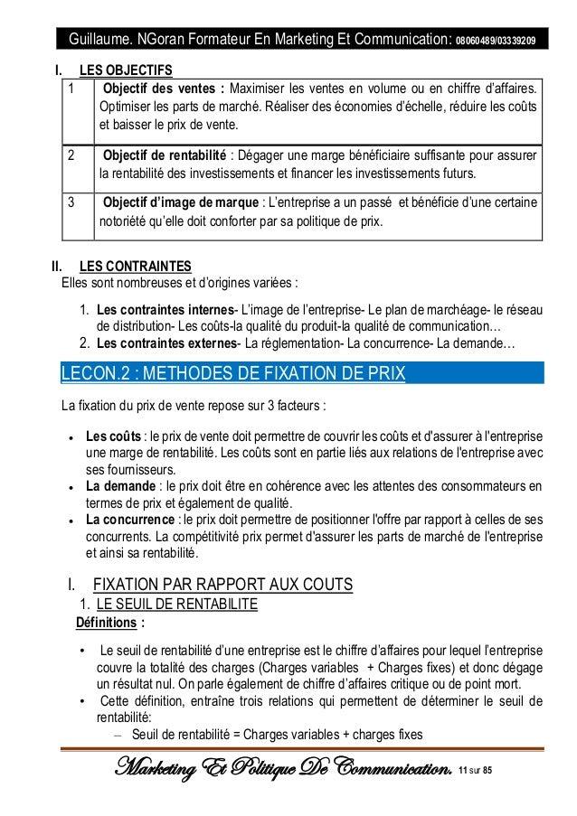 Cours De Marketing Et Politique De Communication 2