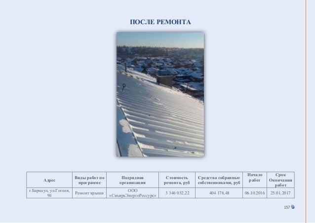 157 ПОСЛЕ РЕМОНТА Адрес Виды работ по программе Подрядная организация Стоимость ремонта, руб Средства собранные собственни...