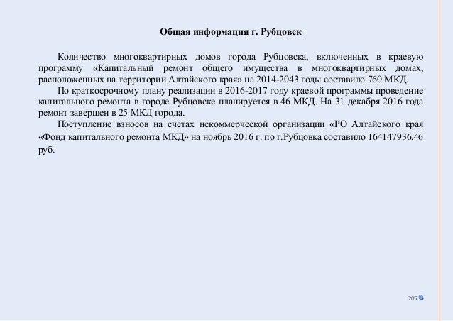 205 Общая информация г. Рубцовск Количество многоквартирных домов города Рубцовска, включенных в краевую программу «Капита...