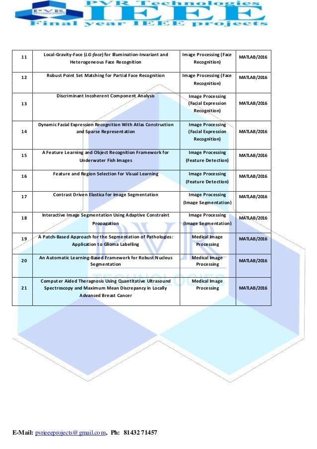2016 2017 ieee matlab project titles Slide 2