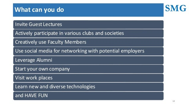 SMG 18 Whatcanyoudo InviteGuestLectures Activelyparticipateinvariousclubsandsocieties CreativelyuseFacultyMe...
