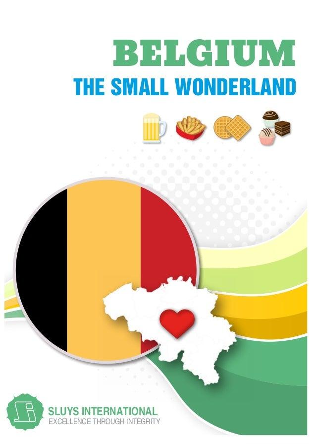 EXCELLENCE THROUGH INTEGRITY SLUYS INTERNATIONAL THE SMALL WONDERLAND BELGIUM