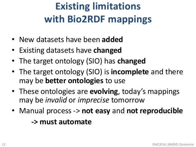 Existing limitations with Bio2RDF mappings • New datasets have been added • Existing datasets have changed • The target on...