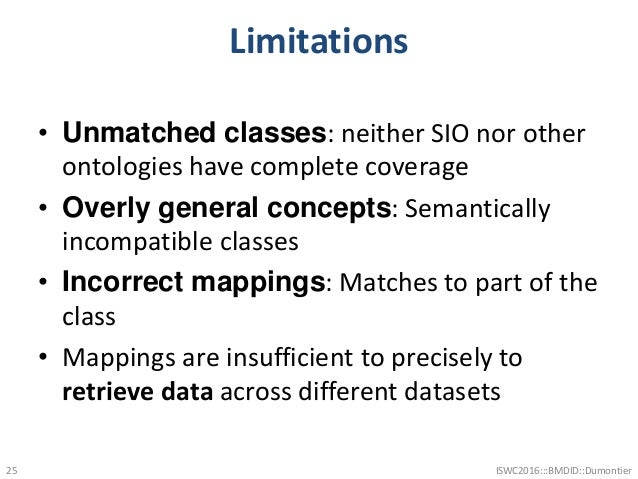 Limitations • Unmatched classes: neither SIO nor other ontologies have complete coverage • Overly general concepts: Semant...