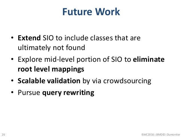 Future Work • Extend SIO to include classes that are ultimately not found • Explore mid-level portion of SIO to eliminate ...