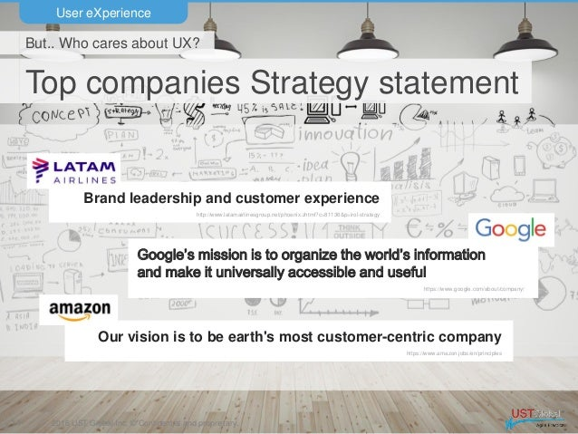 2016 UST Global Inc. © Confidential and proprietary. Top companies Strategy statement User eXperience 11 But.. Who cares a...