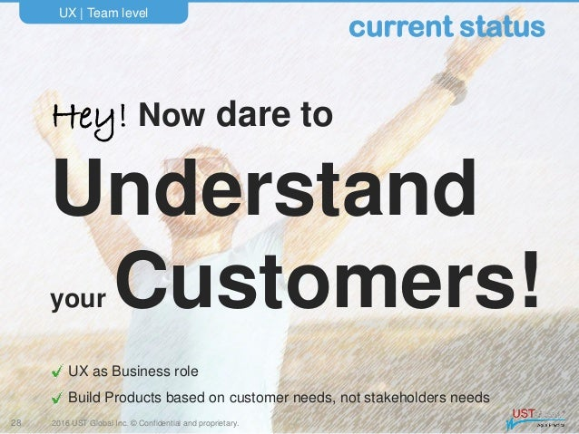 2016 UST Global Inc. © Confidential and proprietary. Hey! Now dare to Understand your Customers! UX   Team level 28 curren...