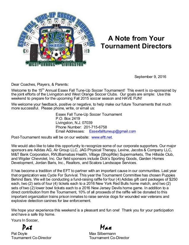 A Note from Your Tournament Directors We would like to take this opportunity to acknowledge our generous corporate and loc...