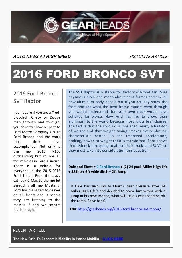 2016 Ford Bronco >> 2016 Ford Bronco Svt Raptor