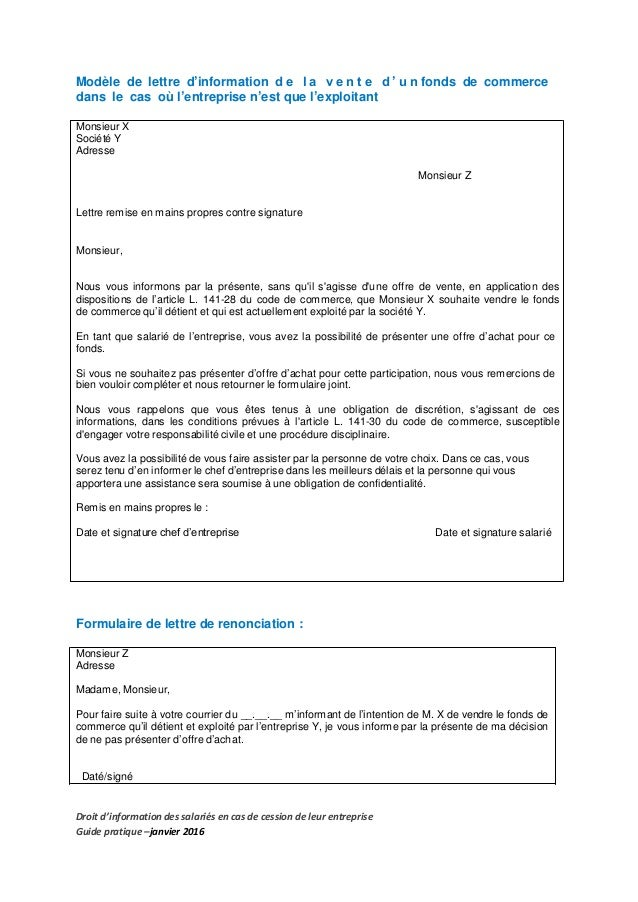 modele lettre information salarie cession fonds de commerce
