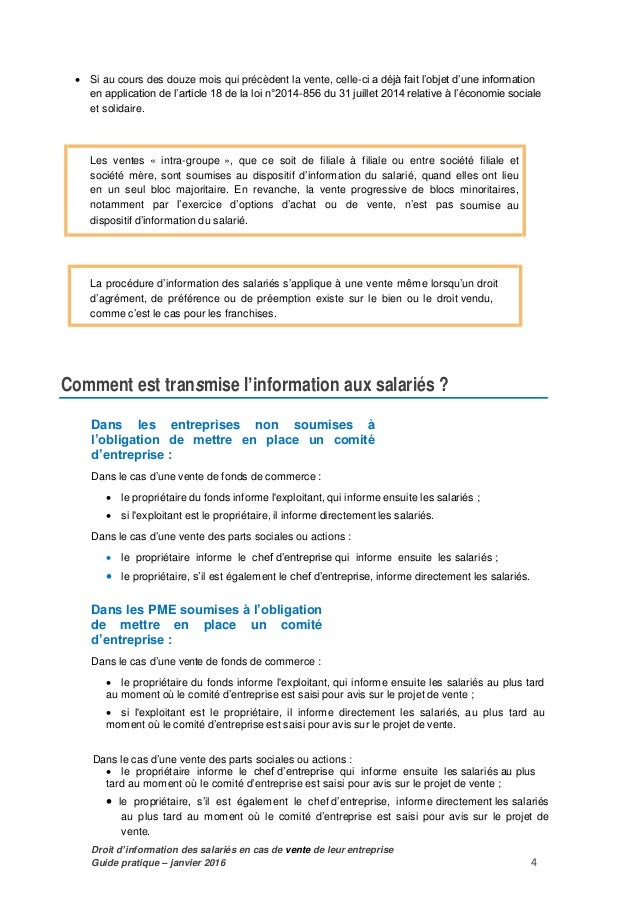 modele lettre information salarie cession fonds de commerce