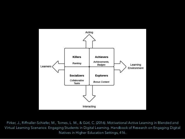 Pirker, J., Riffnaller-Schiefer, M., Tomes, L. M., & Gütl, C. (2016). Motivational Active Learning in Blended and Virtual ...