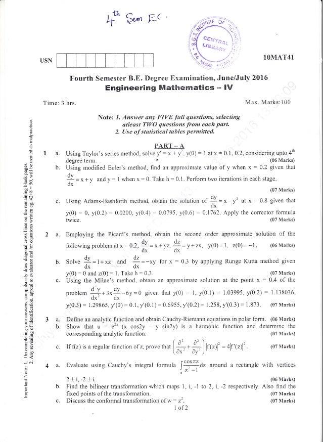 ")-f g,- Fc Fourth Sernester B.E"" I)egree Examination, June/July 2016 Engineering Mathematics - IV Time: 3 hrs. lVlax. Mark..."