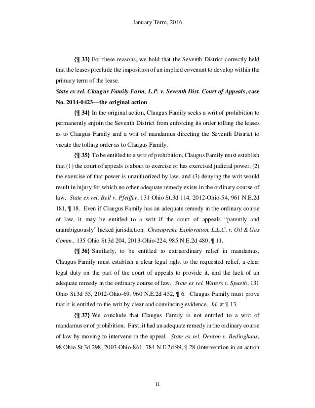Ohio Supreme Court Ruling In Hupp Vs Beck Energy