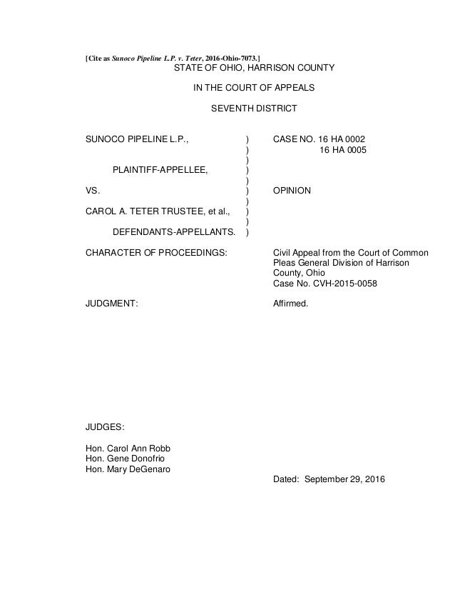 [Cite as Sunoco Pipeline L.P. v. Teter, 2016-Ohio-7073.] STATE OF OHIO, HARRISON COUNTY IN THE COURT OF APPEALS SEVENTH DI...