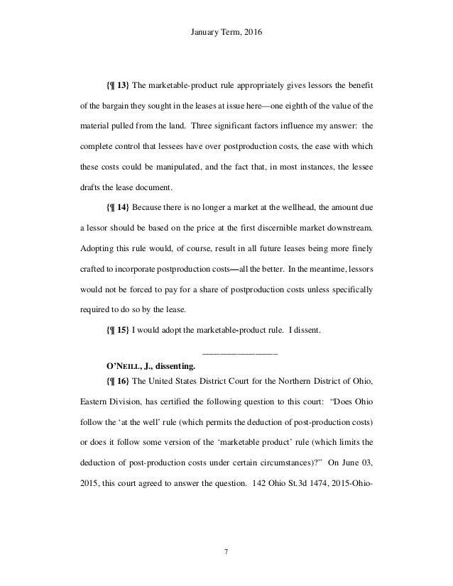 Ohio Supreme Court Decision Lutz V Chesapeake Appalachia