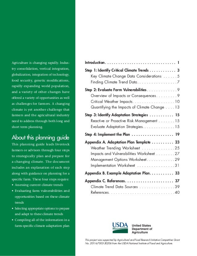 Animal agriculture adaptation planning guide climate change – Climate Change Worksheet
