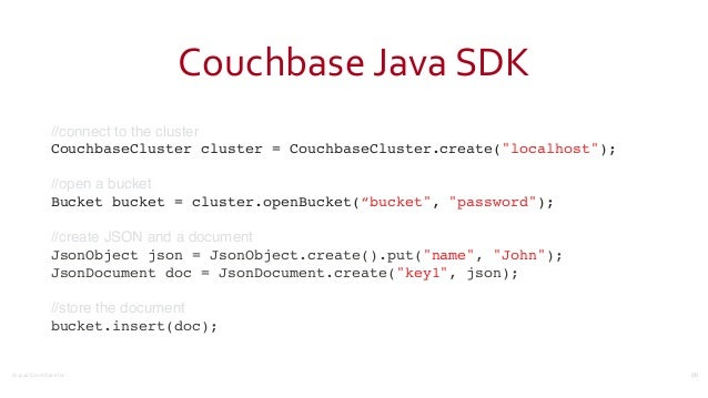 ©2016  Couchbase  Inc. Couchbase  Java  SDK //connect to the cluster CouchbaseCluster cluster = CouchbaseCluster.c...