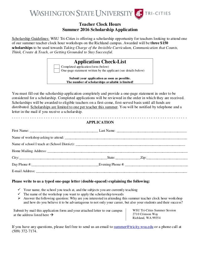 Teacher Clock Hours Summer 2016 Scholarship Application Scholarship  Guidelines: WSU Tri Cities Is Offering