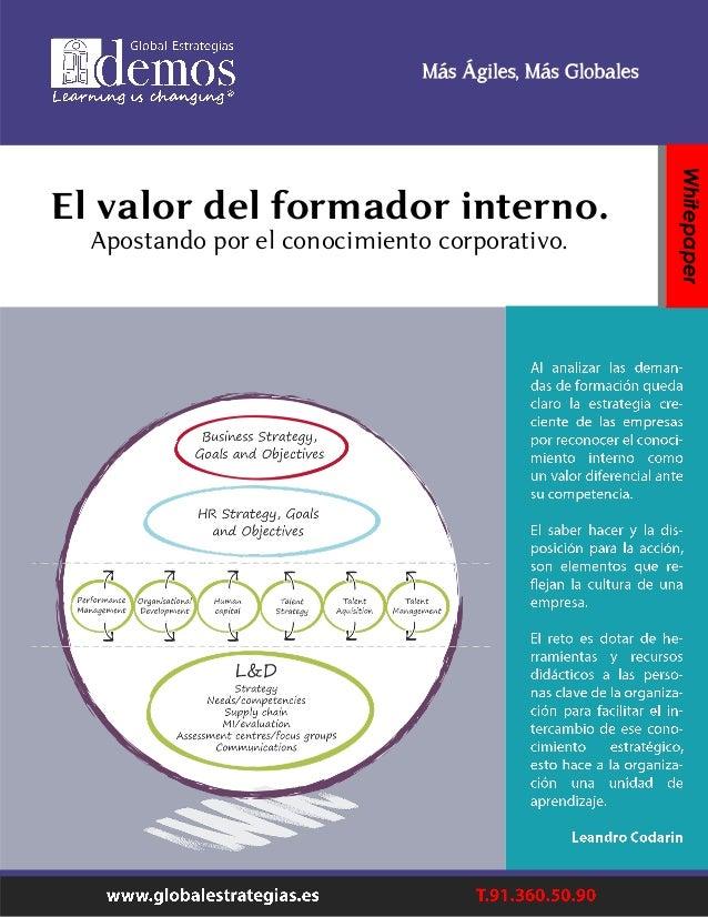 El valor del formador interno. Apostando por el conocimiento corporativo. Whitepaper