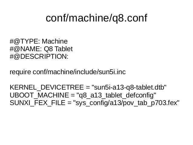 conf/machine/q8.conf #@TYPE: Machine #@NAME: Q8 Tablet #@DESCRIPTION: require conf/machine/include/sun5i.inc KERNEL_DEVICE...