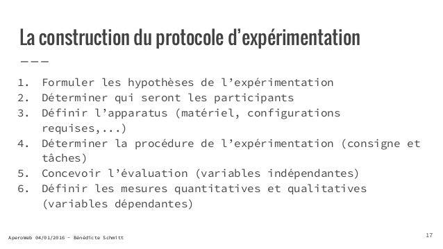 AperoWeb 04/01/2016 - Bénédicte Schmitt La construction du protocole d'expérimentation 1. Formuler les hypothèses de l'exp...