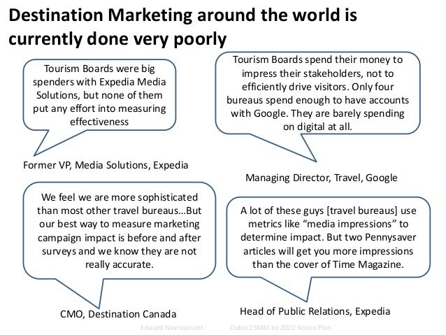 Destination Marketing around the world is currently done very poorly Tourism Boards were big spenders with Expedia Media S...