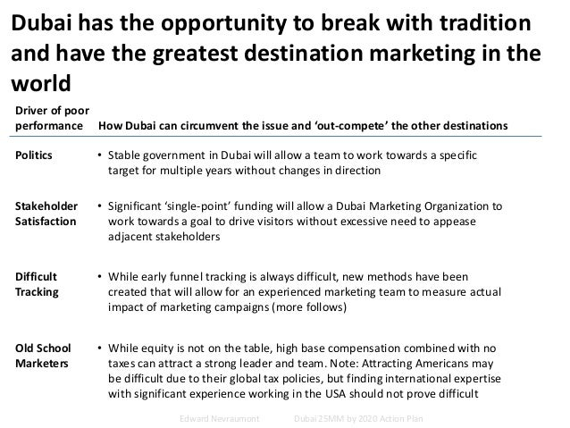 Dubai has the opportunity to break with tradition and have the greatest destination marketing in the world Driver of poor ...