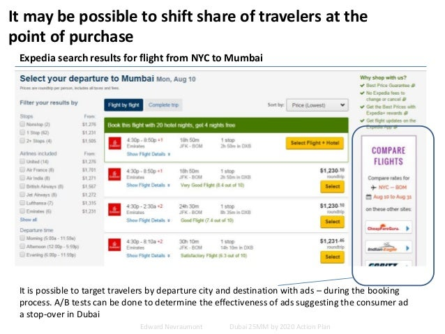 It may be possible to shift share of travelers at the point of purchase Expedia search results for flight from NYC to Mumb...