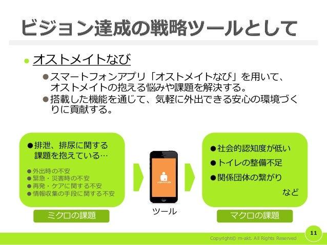 Copyright© m-akt. All Rights Reserved  オストメイトなび スマートフォンアプリ「オストメイトなび」を用いて、 オストメイトの抱える悩みや課題を解決する。 搭載した機能を通じて、気軽に外出できる安心の環...