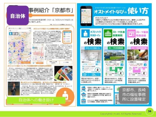 Copyright© m-akt. All Rights Reserved 36 自治体への働き掛け 京都市、長崎 市の福祉事務 所に設置確定 自治体