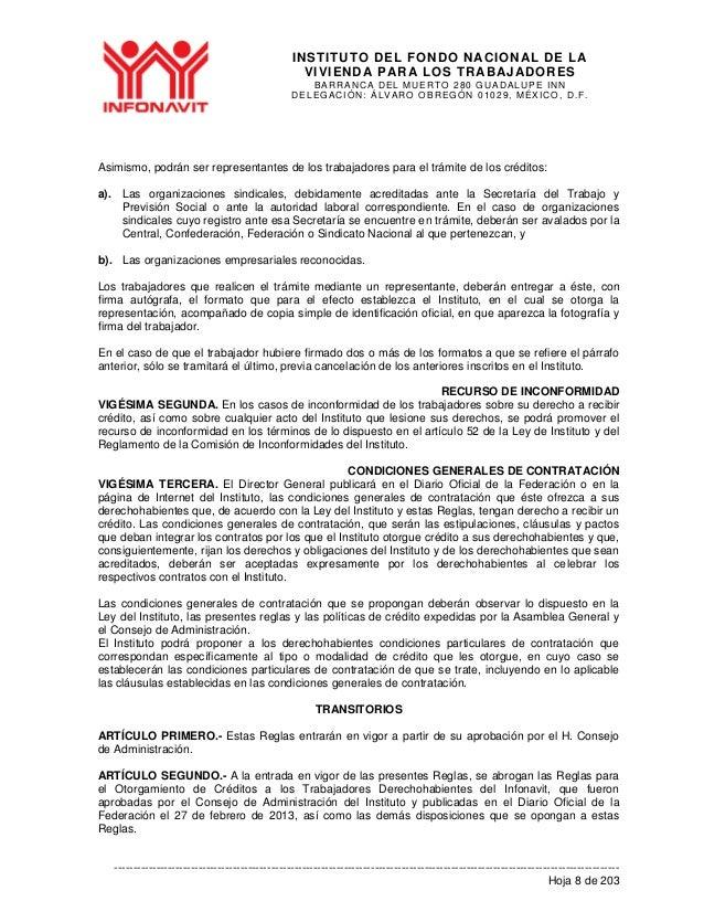 Proyecto de Nuevas Reglas de Otorgamiento de Créditos Infonavit